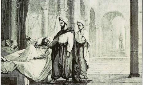 Ilustrasi sebuah rumah sakit pada masa kejayaan Islam di Cordoba, Andalusia (Spanyol).